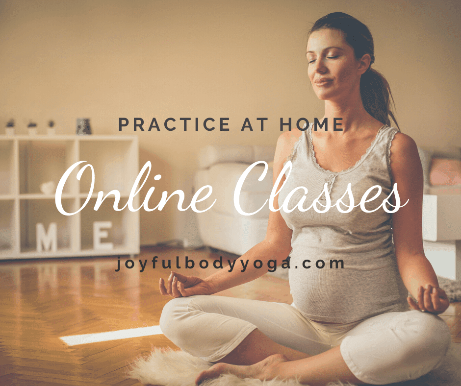 woman practicing yoga at home online class